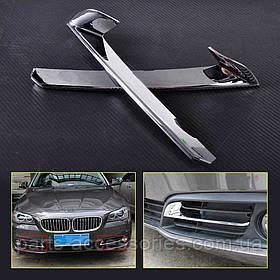 BMW 5 5-Series F10 2010-13 хромові декоратавные накладки на решітки переднього бампера Нові