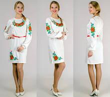 """Платье вышиванка """"Цветы"""" (белое)"""
