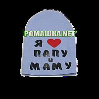 Детская весенняя, осенняя шапочка р. 46-48 трикотажная двойная хорошо тянется ТМ Anika 3404 Голубая1 46