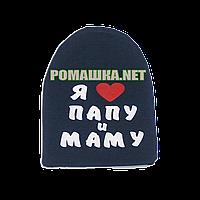 Детская весенняя, осенняя шапочка р. 46-48 трикотажная двойная хорошо тянется ТМ Anika 3404 Синий 48