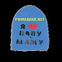 Детская весенняя, осенняя шапочка р. 46-48 трикотажная двойная хорошо тянется ТМ Anika 3404 Голубая 48