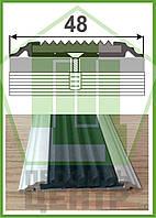 УЛ 150. Алюминиевый порожек с резиновой вставкой, прямой, без покрытия. Длина 1,0м.