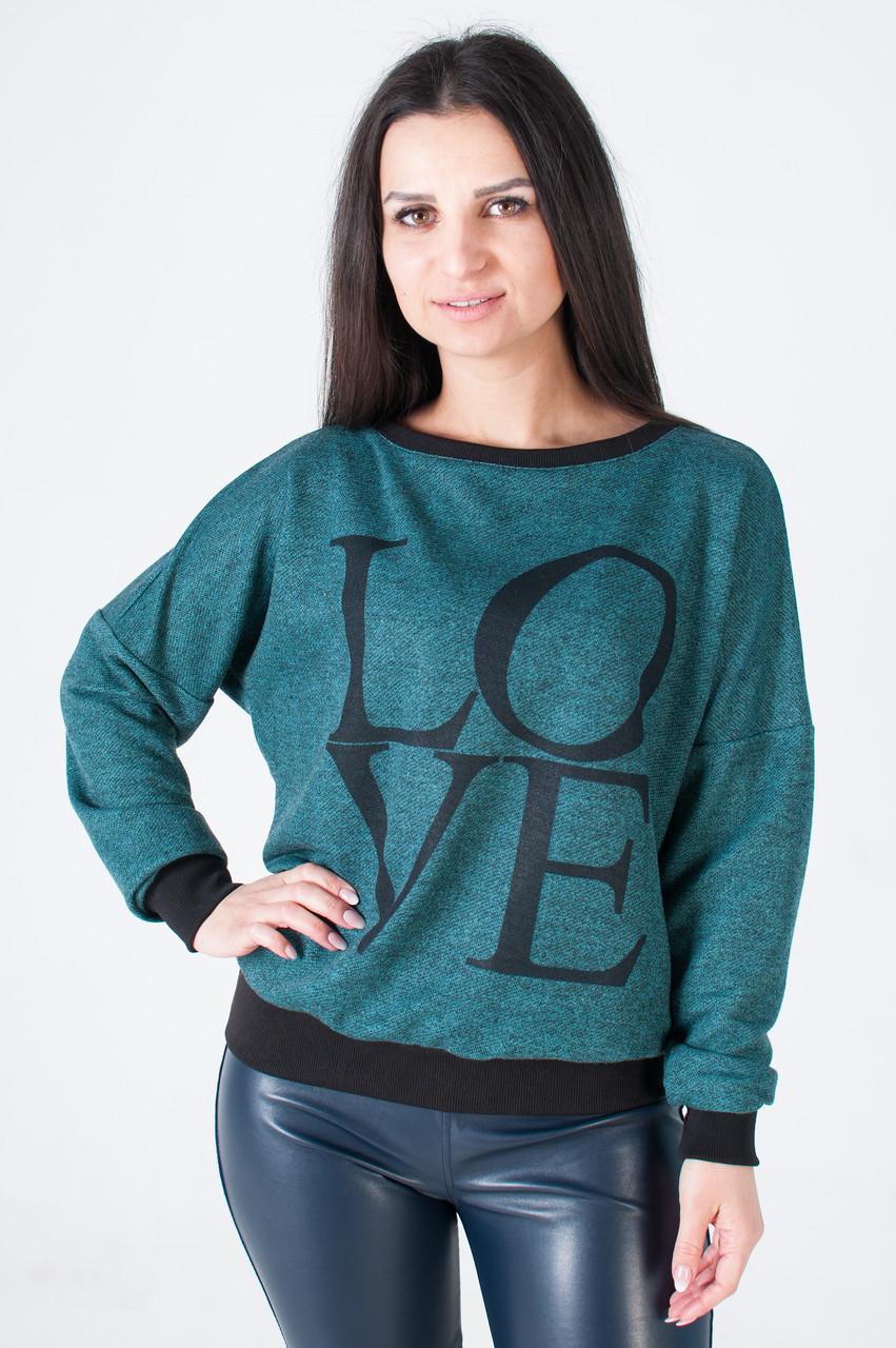 Женская трикотажная кофта  LOVE зеленого цвета
