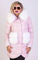 Женская куртка с натуральным мехом песец