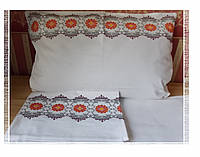 Постельное белье с вышивкой оберега Ромашка полуторное Бязь Гост