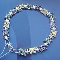 Серебряный женский браслет с мотыльками, 190мм, 60 камней, фото 2