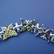 Серебряный женский браслет с мотыльками, 190мм, 60 камней, фото 3