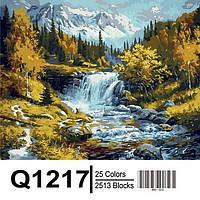 """Q1217 """"Горная речка"""" Роспись по номерам на холсте 40х50см"""