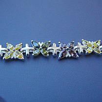 Срібний жіночий браслет з метеликами, 190мм, 60 каменів, фото 3