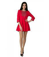 Платье вышитое женское. Красное платье. Короткое платье. Платье в украинском стиле.
