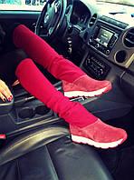 Сапоги женские стильные красный цвет натуральная замш + чулок