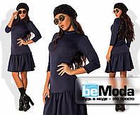 Привлекательное женское платье из дайвинга с заниженной расклешенной юбкой и вставкой на спинке из гипюра темн