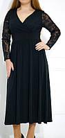 """ПП Украина Женское  вечернее черное  платье большого размера """"Вита"""" до 64 размера"""