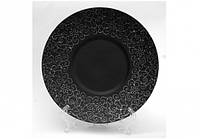 "Тарелка круглая черная матовая плоская с узором 12"", Диаметр 30,5см"