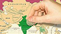 Настенная карта мира в подарочном тубусе Scratch map