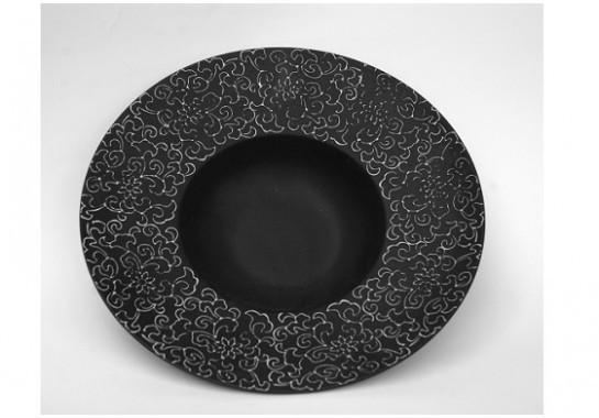 """Тарелка фарфоровая черная для пасты матовая с узором 12"""", диаметр  30,5см"""