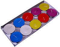 Набор цветных свечей таблетка 10 шт (чайные, плавающие)