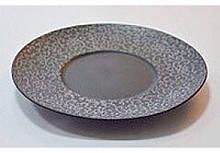 """Тарілка кругла чорна матова плоска з квітковим візерунком 10"""", Діаметр 25,4 см"""