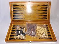 Уценка - Шахматы-шашки-нарды из бамбука 30 х 30 см (Набор 3 в 1)