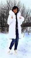 Женская зимняя парка белого цвета из меха песца