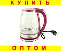 Стеклянный электро чайник Domotec MS-8113 Red