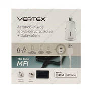 Блок питания USB (авто) + кабель USB для Iphone 5/6 MFI 1000mAh Vertex цвет: белый