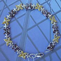 Серебряный женский браслет с мотыльками, 180мм, 56 камней