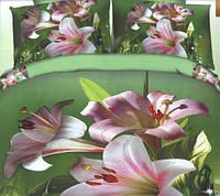 Комплект постельного белья евро размер Розовые Лилии, постельное белье