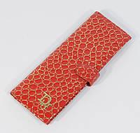 Визитница кожаная женская Dior красная с золотом, 68 файлов