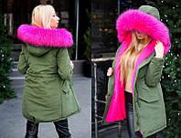 "Женская тёплая зимняя куртка-парка ""Парка Цветной Мех"" в расцветках (2203-9015)"