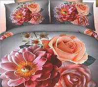 Комплект постельного белья евро размер Розовая Хризантема, постельное белье