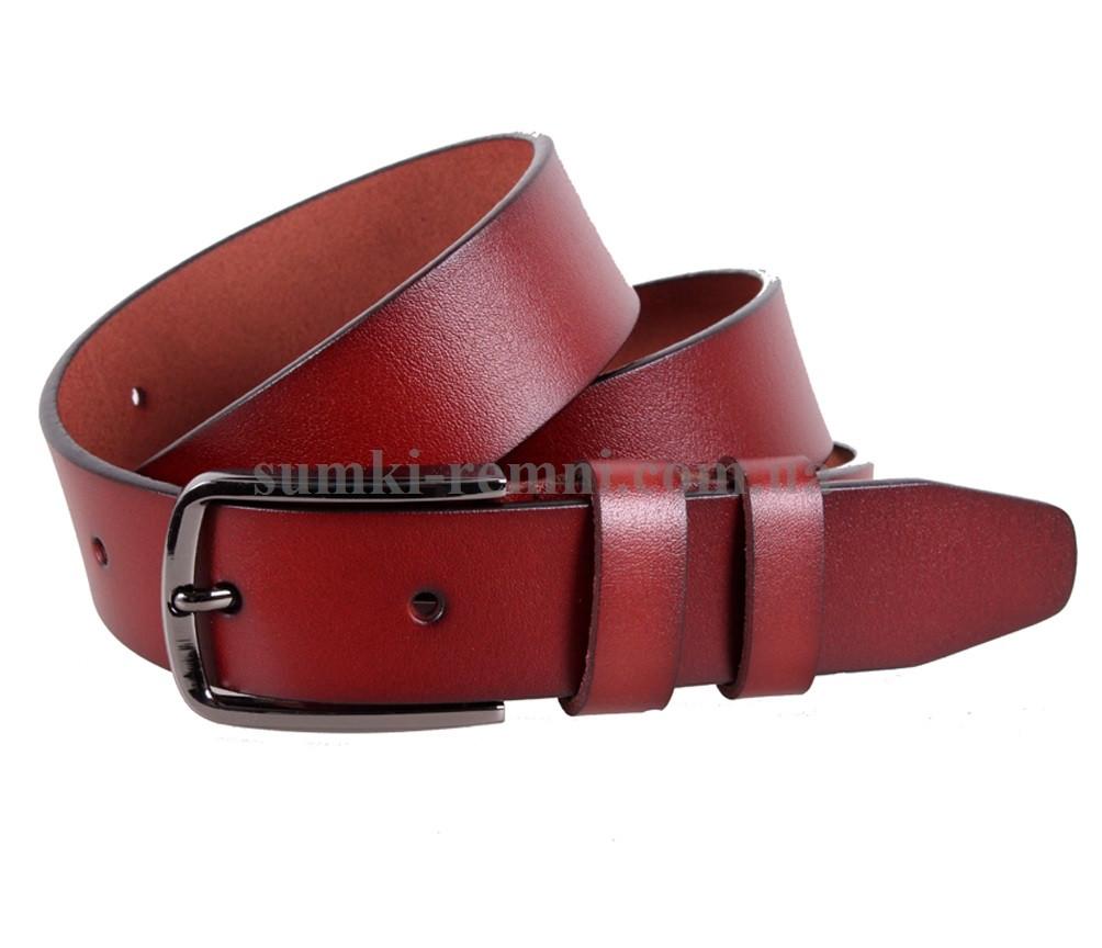 Мужской ремень из натуральной кожи под брюки MGB101-23 красный