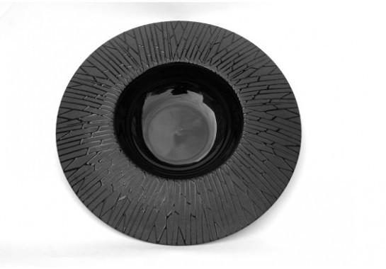 "Тарелка для пасты черная матово-глянцева плоская с рисунком ""черный бамбук""  11"", Диаметр 28 см"