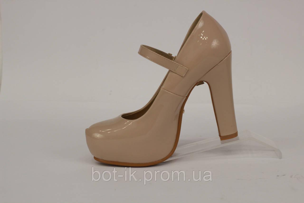 77103001 ... Туфли женские на среднем каблуке, бежевые лаковые с перемычкой, фото 5
