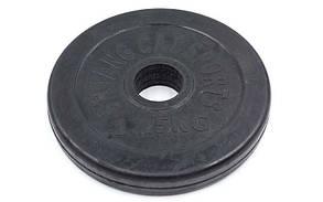 Блины черные обрезиненные 1,25 кг (d=30 мм). Суперцена!
