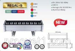 Линейный прожектор 9W POVER LED  IP65 (янт,3000К,крас,зел,син)