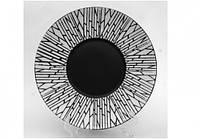 """Тарелка круглая черная матово-глянцева плоская с рисунком """"белый  бамбук""""  10"""", Диаметр 25,4см"""
