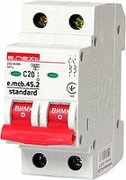 Модульный автоматический выключатель e.mcb.stand.45.2.C20, 2р, 20А, C, 4.5 кА, фото 1