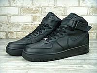 Кроссовки Nike Air Force 1 Black High (Натуральная кожа)