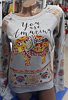 Женский яркий свитшот с орнаментом и слоником цвет серый