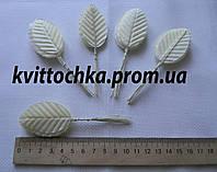 Декоративные листья на ножке цвет - белый