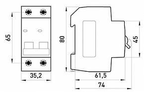 Модульный автоматический выключатель e.mcb.stand.45.2.C25, 2р, 25А, C, 4.5 кА, фото 2