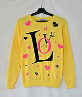 """Свитшот яркий в сердечки """"Love"""" - желтый"""