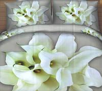 Комплект постельного белья евро размер Белые Каллы  ,  постельное белье