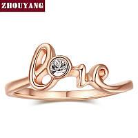 Кольцо Love с цирконом