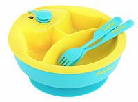 BabyOno Тарелка с подогревающим дном 237 желто синяя