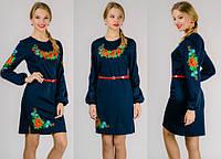 """Платье вышиванка """"Цветы"""" (синее), фото 1"""