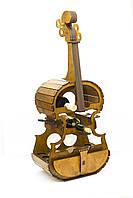 """Подарочный деревянный сувенирный набор """"Мини-бар Виолончель и стопки"""" ручной работы"""