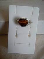 Женское кольцо с тигровым глазом в серебре