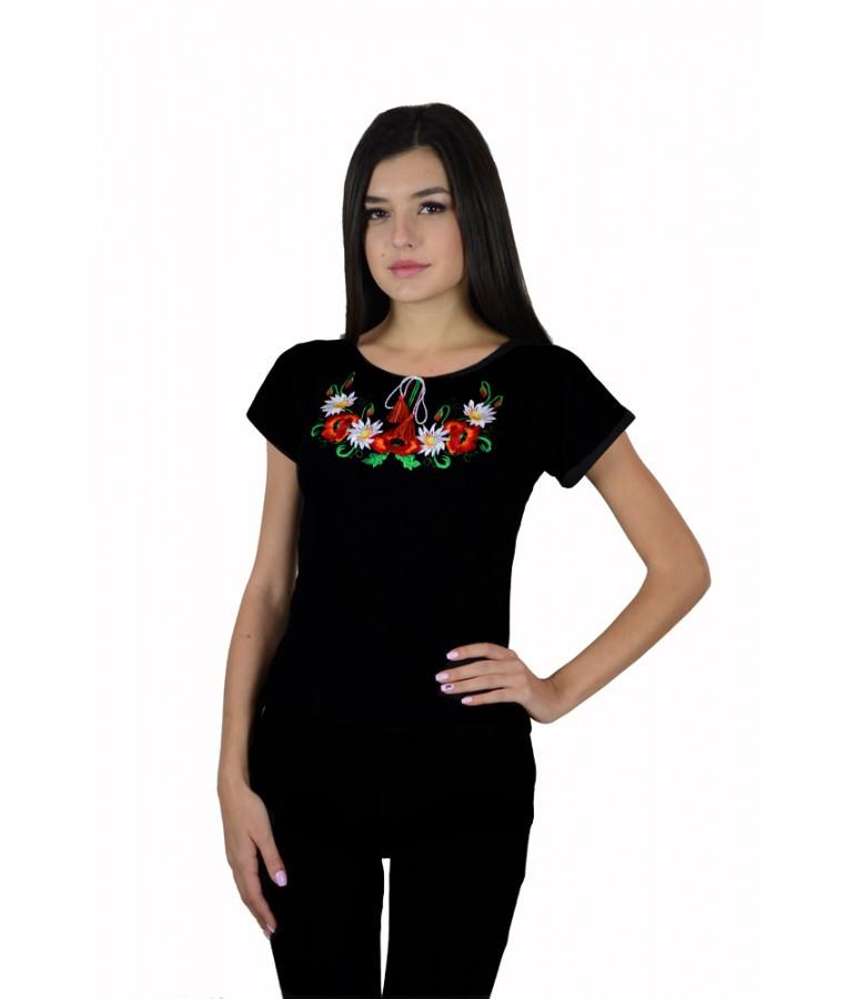 """Футболка """"Маки"""". Черная женская футболка. Футболка в украинском стиле."""